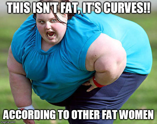 all women are beautiful? |  THIS ISN'T FAT, IT'S CURVES!! ACCORDING TO OTHER FAT WOMEN | image tagged in fat | made w/ Imgflip meme maker