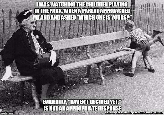 "OLD LADY IN THE PARK | I WAS WATCHING THE CHILDREN PLAYING IN THE PARK, WHEN A PARENT APPROACHED ME AND AND ASKED ""WHICH ONE IS YOURS?"" EVIDENTLY, ""HAVEN'T DECIDED 