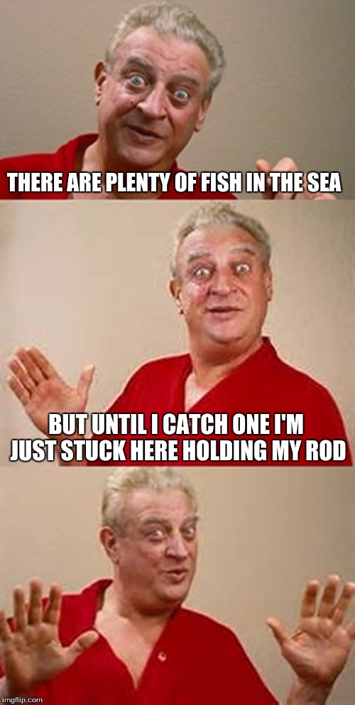 bad pun Dangerfield  | THERE ARE PLENTY OF FISH IN THE SEA BUT UNTIL I CATCH ONE I'M JUST STUCK HERE HOLDING MY ROD | image tagged in bad pun dangerfield | made w/ Imgflip meme maker