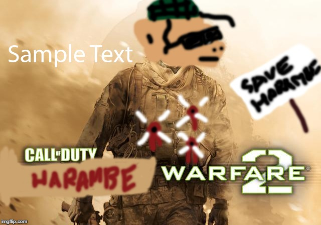 HARAMBE WARFARE 2 | image tagged in harambe,warfare,2,call of duty | made w/ Imgflip meme maker
