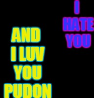Harley Quinn & The Joker Mad Love  | I HATE YOU AND I LUV YOU PUDON | image tagged in harley quinn  the joker mad love | made w/ Imgflip meme maker