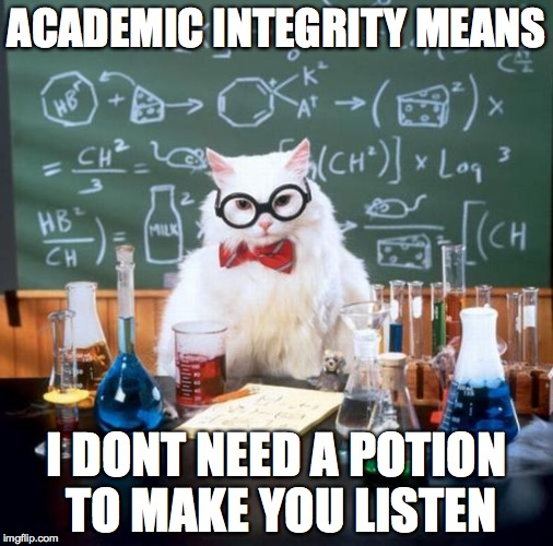 Chemistry Cat | ACADEMIC INTEGRITY MEANS I DONT NEED A POTION TO MAKE YOU LISTEN | image tagged in memes,chemistry cat | made w/ Imgflip meme maker