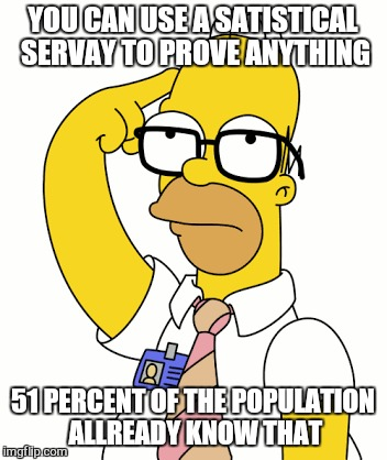 YOU CAN USE A SATISTICAL  SERVAY TO PROVE ANYTHING 51 PERCENT OF THE POPULATION ALLREADY KNOW THAT | made w/ Imgflip meme maker