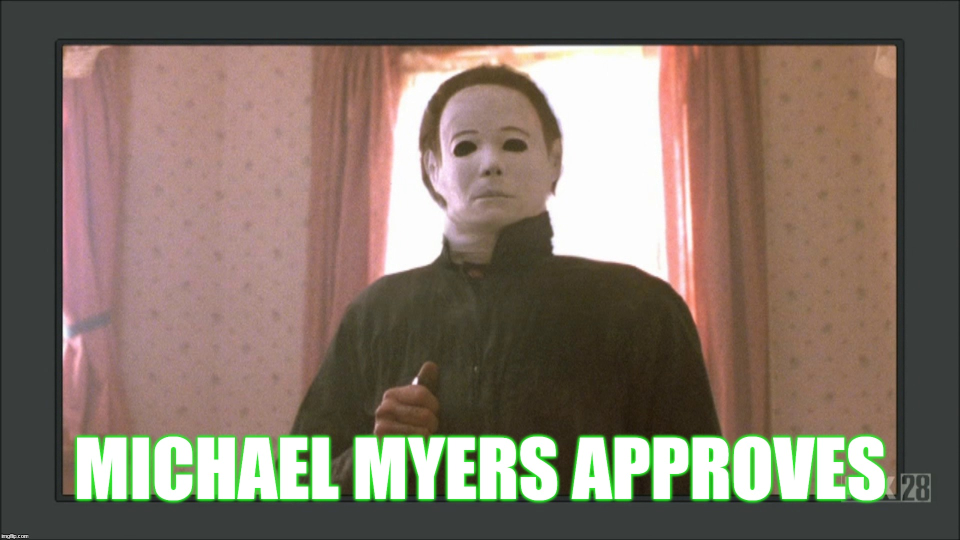 Michael Myers meme | MICHAEL MYERS APPROVES | image tagged in michael myers,approves | made w/ Imgflip meme maker