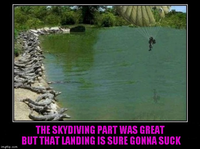 Bad Luck Brian goes skydiving... | THE SKYDIVING PART WAS GREAT BUT THAT LANDING IS SURE GONNA SUCK | image tagged in alligator farm paratrooper,memes,demotivational,funny,demotivational week,bad luck brian | made w/ Imgflip meme maker