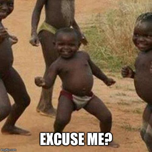 Third World Success Kid Meme | EXCUSE ME? | image tagged in memes,third world success kid | made w/ Imgflip meme maker