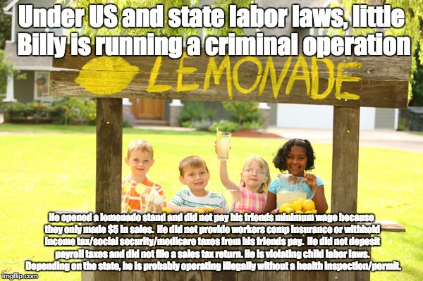 Illegal Lemonade Stand | Under US and state labor laws, little Billy is running a criminal operation He opened a lemonade stand and did not pay his friends minimum w | image tagged in libertarianism,minimum wage,labor laws,taxes,entrepreneur,business | made w/ Imgflip meme maker