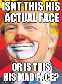 Donald Trump the Clown |  ISNT THIS HIS ACTUAL FACE; OR IS THIS HIS MAD FACE? | image tagged in donald trump the clown | made w/ Imgflip meme maker