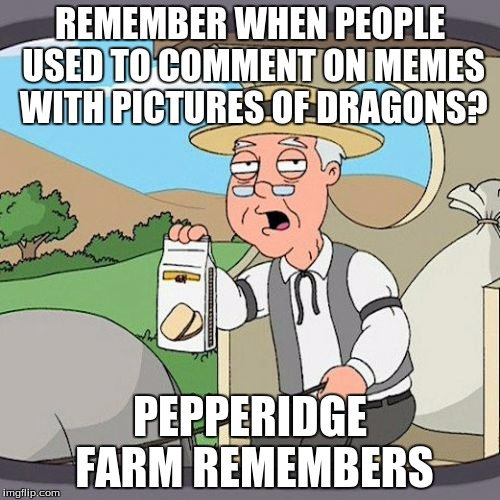 anyone still remember this? | REMEMBER WHEN PEOPLE USED TO COMMENT ON MEMES WITH PICTURES OF DRAGONS? PEPPERIDGE FARM REMEMBERS | image tagged in memes,pepperidge farm remembers | made w/ Imgflip meme maker