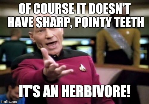 Picard Wtf Meme | OF COURSE IT DOESN'T HAVE SHARP, POINTY TEETH IT'S AN HERBIVORE! | image tagged in memes,picard wtf | made w/ Imgflip meme maker