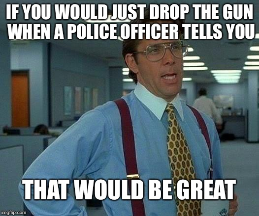 That Would Be Great | IF YOU WOULD JUST DROP THE GUN WHEN A POLICE OFFICER TELLS YOU THAT WOULD BE GREAT | image tagged in memes,that would be great,riots,blacklivesmatter,black panther | made w/ Imgflip meme maker