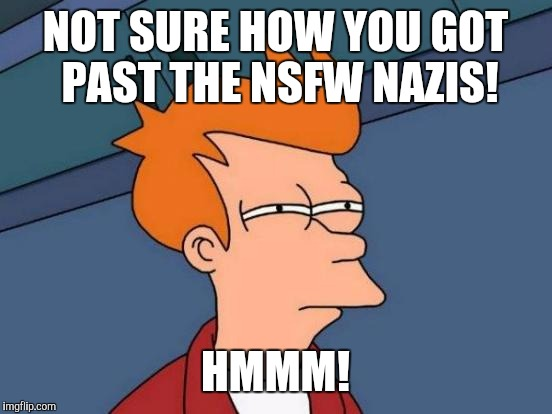 Futurama Fry Meme | NOT SURE HOW YOU GOT PAST THE NSFW NAZIS! HMMM! | image tagged in memes,futurama fry | made w/ Imgflip meme maker