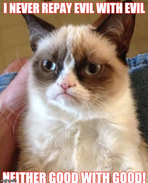 Grumpy Cat Meme | I NEVER REPAY EVIL WITH EVIL NEITHER GOOD WITH GOOD! | image tagged in memes,grumpy cat | made w/ Imgflip meme maker