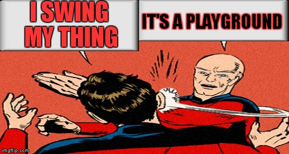 picard slap | I SWING MY THING IT'S A PLAYGROUND | image tagged in picard slap | made w/ Imgflip meme maker