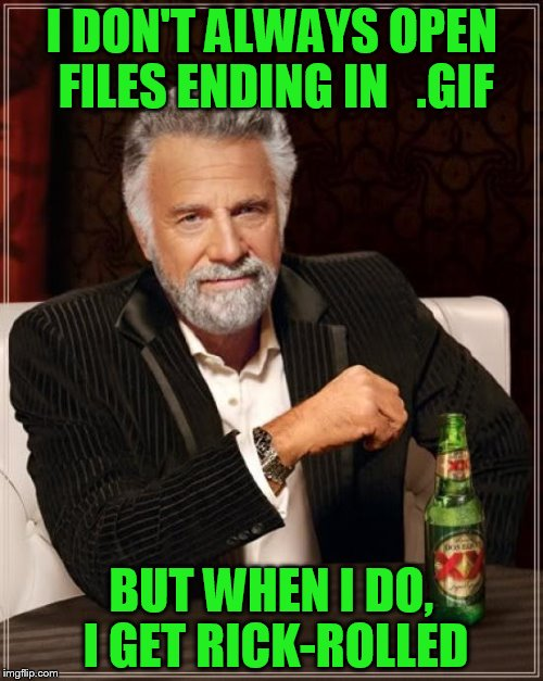 So thank you memestermemesterson | I DON'T ALWAYS OPEN FILES ENDING IN   .GIF BUT WHEN I DO, I GET RICK-ROLLED | image tagged in memes,the most interesting man in the world | made w/ Imgflip meme maker