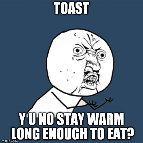 Kinda need to do 1 piece of toast at a time... | TOAST Y U NO STAY WARM LONG ENOUGH TO EAT? | image tagged in memes,y u no,food,cold,first world problems,jam | made w/ Imgflip meme maker