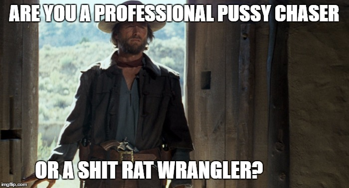 ARE YOU A PROFESSIONAL PUSSY CHASER OR A SHIT RAT WRANGLER? | made w/ Imgflip meme maker