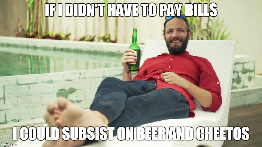 IF I DIDN'T HAVE TO PAY BILLS I COULD SUBSIST ON BEER AND CHEETOS | made w/ Imgflip meme maker