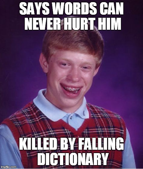 Bad Luck Brian Meme | SAYS WORDS CAN NEVER HURT HIM KILLED BY FALLING DICTIONARY | image tagged in memes,bad luck brian | made w/ Imgflip meme maker