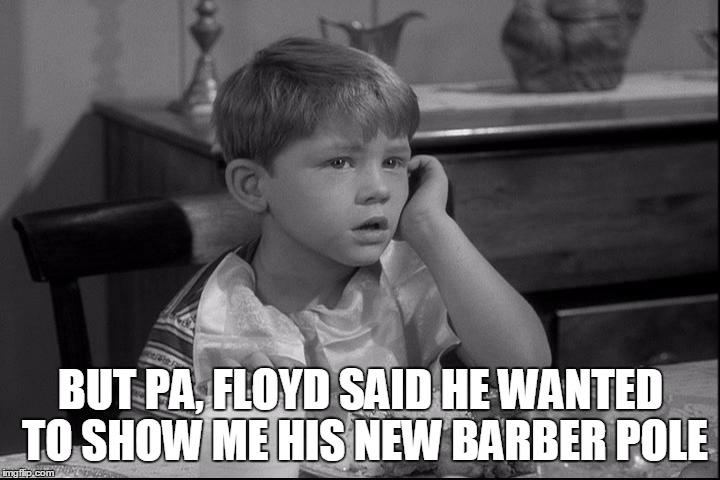 BUT PA, FLOYD SAID HE WANTED TO SHOW ME HIS NEW BARBER POLE | made w/ Imgflip meme maker