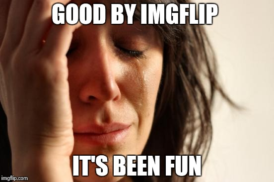 I'm probably not going to submit any memes after this  | GOOD BY IMGFLIP IT'S BEEN FUN | image tagged in memes,first world problems | made w/ Imgflip meme maker