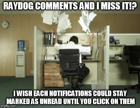 RAYDOG COMMENTS AND I MISS IT!? I WISH EACH NOTIFICATIONS COULD STAY MARKED AS UNREAD UNTIL YOU CLICK ON THEM | made w/ Imgflip meme maker