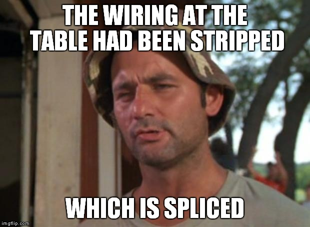THE WIRING AT THE TABLE HAD BEEN STRIPPED WHICH IS SPLICED | made w/ Imgflip meme maker