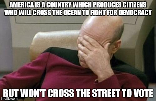 Please vote. Seriously | AMERICA IS A COUNTRY WHICH PRODUCES CITIZENS WHO WILL CROSS THE OCEAN TO FIGHT FOR DEMOCRACY BUT WON'T CROSS THE STREET TO VOTE | image tagged in memes,captain picard facepalm,politics,duh,oh come on | made w/ Imgflip meme maker