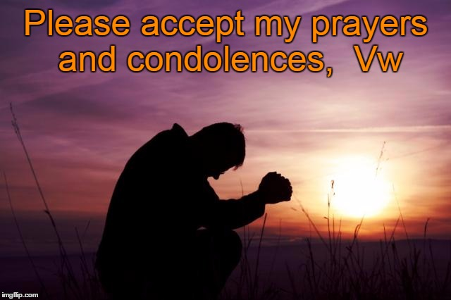 Pray | Please accept my prayers and condolences,  Vw | image tagged in pray | made w/ Imgflip meme maker