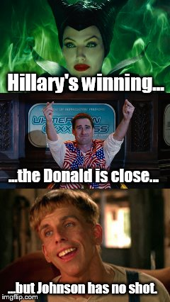 Current election polls  | Hillary's winning... ...but Johnson has no shot. ...the Donald is close... | image tagged in simple jack,election 2016,funny memes | made w/ Imgflip meme maker