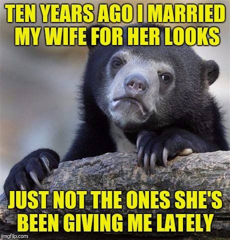 Confession Bear Meme | TEN YEARS AGO I MARRIED MY WIFE FOR HER LOOKS JUST NOT THE ONES SHE'S BEEN GIVING ME LATELY | image tagged in memes,confession bear | made w/ Imgflip meme maker