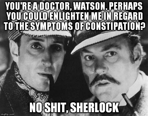 Plainly Obvious Sherlock | YOU'RE A DOCTOR, WATSON. PERHAPS YOU COULD ENLIGHTEN ME IN REGARD TO THE SYMPTOMS OF CONSTIPATION? NO SHIT, SHERLOCK | image tagged in sherlock holmes,detectives,puns,poop | made w/ Imgflip meme maker