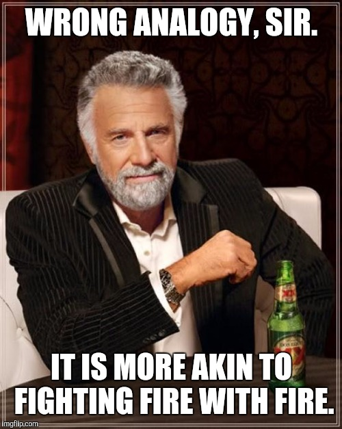 The Most Interesting Man In The World Meme | WRONG ANALOGY, SIR. IT IS MORE AKIN TO FIGHTING FIRE WITH FIRE. | image tagged in memes,the most interesting man in the world | made w/ Imgflip meme maker