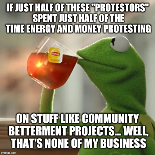 "But Thats None Of My Business Meme | IF JUST HALF OF THESE ""PROTESTORS"" SPENT JUST HALF OF THE TIME ENERGY AND MONEY PROTESTING ON STUFF LIKE COMMUNITY BETTERMENT PROJECTS... WE 
