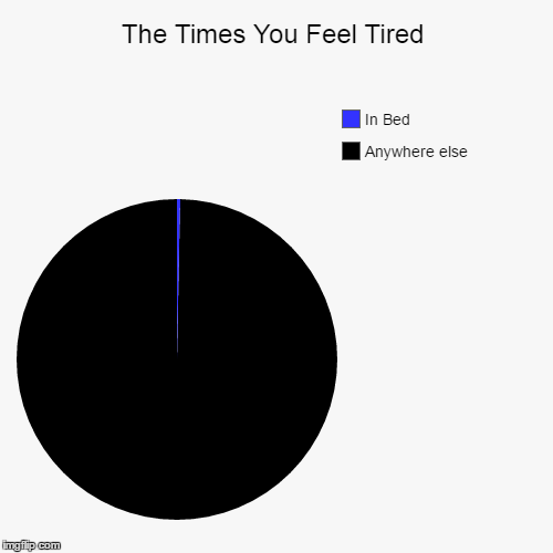 The Times You Feel Tired | Anywhere else, In Bed | image tagged in funny,pie charts | made w/ Imgflip pie chart maker