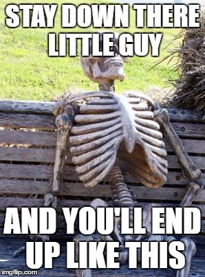 Waiting Skeleton Meme | STAY DOWN THERE LITTLE GUY AND YOU'LL END UP LIKE THIS | image tagged in memes,waiting skeleton | made w/ Imgflip meme maker