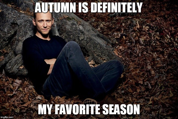 Tom Hiddleston | AUTUMN IS DEFINITELY MY FAVORITE SEASON | image tagged in tom hiddleston | made w/ Imgflip meme maker