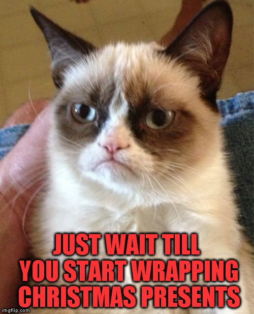 Grumpy Cat Meme | JUST WAIT TILL YOU START WRAPPING CHRISTMAS PRESENTS | image tagged in memes,grumpy cat | made w/ Imgflip meme maker