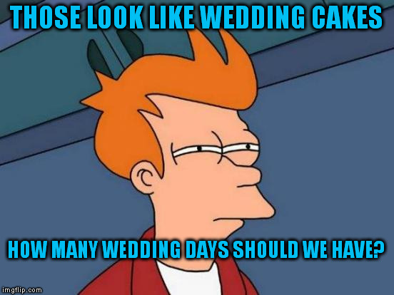 Futurama Fry Meme | THOSE LOOK LIKE WEDDING CAKES HOW MANY WEDDING DAYS SHOULD WE HAVE? | image tagged in memes,futurama fry | made w/ Imgflip meme maker