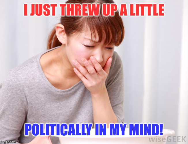 I JUST THREW UP A LITTLE POLITICALLY IN MY MIND! | made w/ Imgflip meme maker