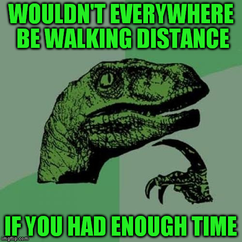 Philosoraptor Meme | WOULDN'T EVERYWHERE BE WALKING DISTANCE IF YOU HAD ENOUGH TIME | image tagged in memes,philosoraptor | made w/ Imgflip meme maker