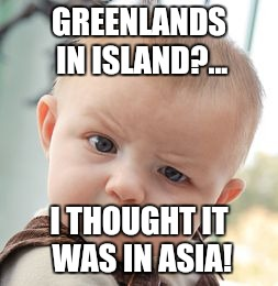 Skeptical Baby Meme | GREENLANDS IN ISLAND?... I THOUGHT IT WAS IN ASIA! | image tagged in memes,skeptical baby | made w/ Imgflip meme maker