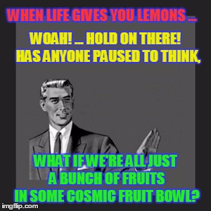 Good & Fruity | WHEN LIFE GIVES YOU LEMONS ... WHAT IF WE'RE ALL JUST A BUNCH OF FRUITS IN SOME COSMIC FRUIT BOWL? WOAH! ... HOLD ON THERE!   HAS ANYONE PAU | image tagged in memes,kill yourself guy,meaning of life,what is life,funny | made w/ Imgflip meme maker