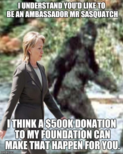 I UNDERSTAND YOU'D LIKE TO BE AN AMBASSADOR MR SASQUATCH I THINK A $500K DONATION TO MY FOUNDATION CAN MAKE THAT HAPPEN FOR YOU. | made w/ Imgflip meme maker