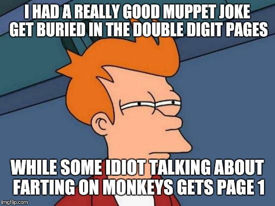 Futurama Fry Meme | I HAD A REALLY GOOD MUPPET JOKE GET BURIED IN THE DOUBLE DIGIT PAGES WHILE SOME IDIOT TALKING ABOUT FARTING ON MONKEYS GETS PAGE 1 | image tagged in memes,futurama fry | made w/ Imgflip meme maker