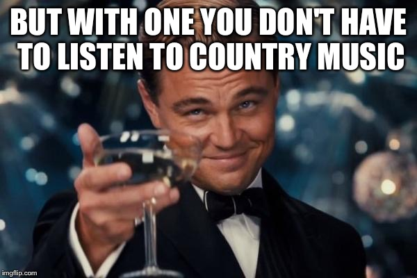 Leonardo Dicaprio Cheers Meme | BUT WITH ONE YOU DON'T HAVE TO LISTEN TO COUNTRY MUSIC | image tagged in memes,leonardo dicaprio cheers | made w/ Imgflip meme maker