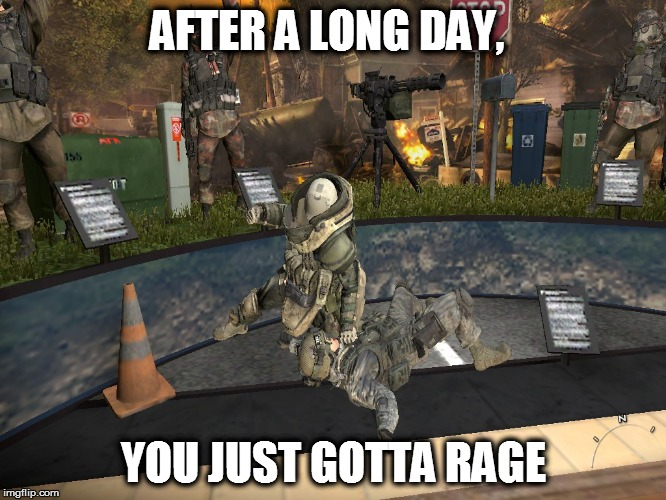 AFTER A LONG DAY, YOU JUST GOTTA RAGE | image tagged in mw2,juggernaut,rage,long day | made w/ Imgflip meme maker