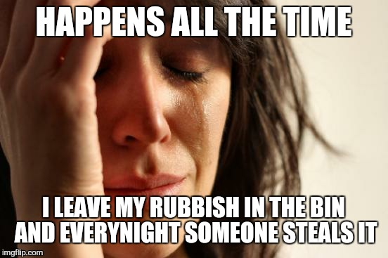 First World Problems Meme | HAPPENS ALL THE TIME I LEAVE MY RUBBISH IN THE BIN AND EVERYNIGHT SOMEONE STEALS IT | image tagged in memes,first world problems | made w/ Imgflip meme maker