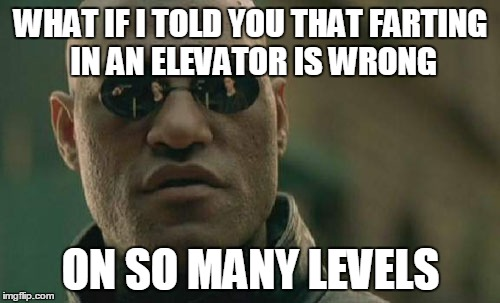 Matrix Morpheus Meme | WHAT IF I TOLD YOU THAT FARTING IN AN ELEVATOR IS WRONG ON SO MANY LEVELS | image tagged in memes,matrix morpheus | made w/ Imgflip meme maker