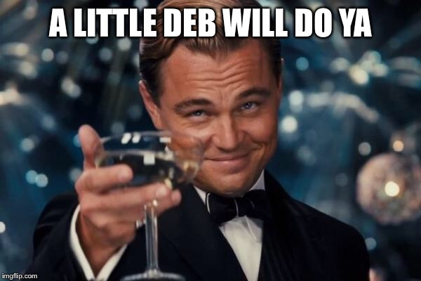 Leonardo Dicaprio Cheers Meme | A LITTLE DEB WILL DO YA | image tagged in memes,leonardo dicaprio cheers | made w/ Imgflip meme maker